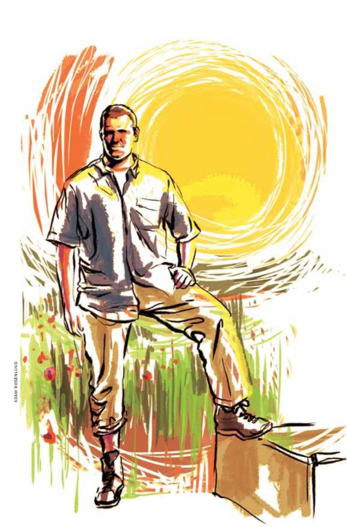 Illustration of writer Nathaniel Hoffman, pant  leg rolled up, in front of large yellow sun