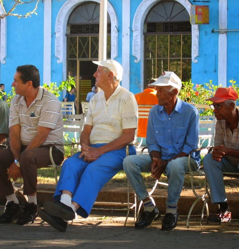 Old men on a bench in Cuba